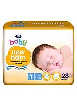 Boots Baby Newborn Nappies Size 1 Newborn Carry Pack - 28 Nappies