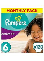 Pampers Premium Protection Active Fit Size 6 Monthly Saving Pack - 120 Nappies