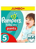 Pampers Baby-Dry Pants Size 5 Jumbo Box 64 Nappies