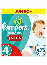 Pampers Baby-Dry Pants Size 4 Jumbo Box 72 Nappies