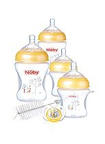 Nuby Bottle Feeding Kit (2 x 180ml, 2 x 270ml, 1 soother, 1 bottle brush)