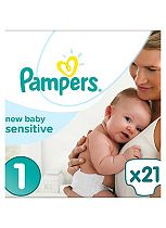 Pampers Premium Protection New Baby Sensitive Size 1 Carry Pack - 21 Nappies