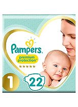 Pampers Premium Protection New Baby Size 1 Carry Pack 22 Nappies