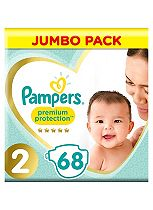Pampers Premium Protection New Baby Size 2 Jumbo Pack 68 Nappies