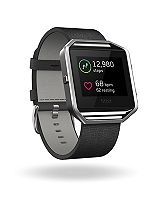 Fitbit Blaze Fitness Super Watch Leather Accessory Band - Black (Large)