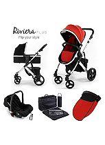 Tutti Bambini Riviera Plus 3-in-1 Silver Travel System - Black / Coral Red