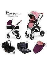 Tutti Bambini Riviera Plus 3-in-1 Silver Travel System - Dusty Pink / Plum