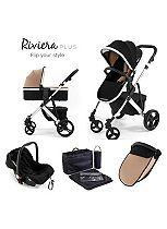 Tutti Bambini Riviera Plus 3-in-1 Silver Travel System - Black / Taupe