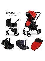 Tutti Bambini Riviera Plus 3-in-1 Black Travel System - Black/Coral Red