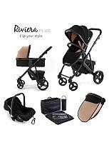 Tutti Bambini Riviera Plus 3-in-1 Black Travel System - Black/Taupe