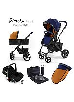 Tutti Bambini Riviera Plus 3-in-1 Black Travel System - Midnight Blue/Tan