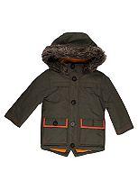 Mini Club Boys Fur Trim Coat Khaki