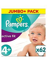 Pampers Premium Protection Active Fit Size 4+ Jumbo Plus Pack 62 Nappies