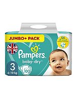 Pampers Baby Dry Size 3 (Midi) Jumbo Plus Pack 90 Nappies
