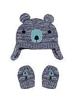 Mini Club Baby Boys Hat and Mitt Set Blue Bear