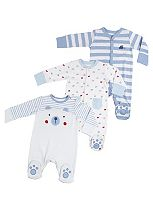 Mini Club Baby Boys Sleepsuits Bear and Trains 3 Pack