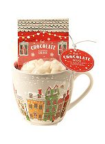 Festive Hot Chocolate Mug with mini mallows and chocolate flavoured drink