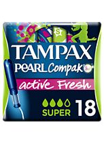 Tampax Compak Pearl Active Fresh Super Tampons Applicator 18x