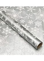 Boots Silver Snowflake Christmas Wrap 3m