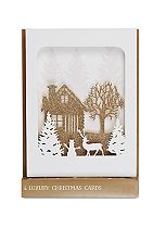 Boots Laser Cut Winter Scene 4 Cards