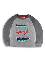Mini Club Boys Plane Graphic Top Grey