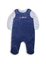 Mini Club Baby Boys Velour Dungaree Set Blue