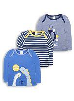 Mini Club Baby Boys 3 Pack Long Sleeve Tops Blue Dinosaur