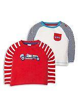 Mini Club Baby Boys 2 Pack Long Sleeve Tops Car