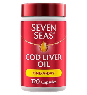Seven Seas Cod Liver Oil Plus Omega-3 Fish Oil One-A-Day Capsules - 120 Capsules