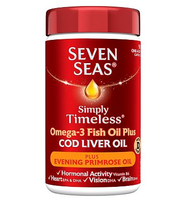 Seven Seas Pure Cod Liver Oil Plus Evening Primrose Oil 90 One-a-Day Capsules.