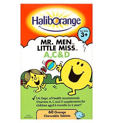 Haliborange Mr Men Vitamins A,C  D Orange Flavour - 60 Chewable Tablets