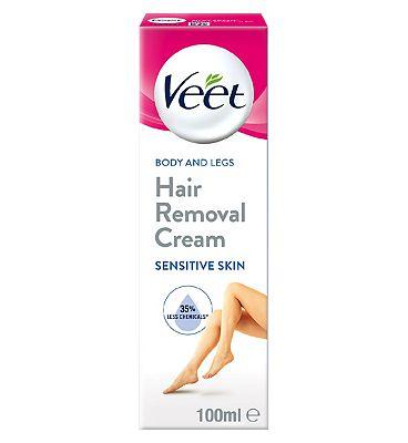 Veet Hair Removal Cream with Aloe Vera & Vitamin E for Sensitive Skin 100ml