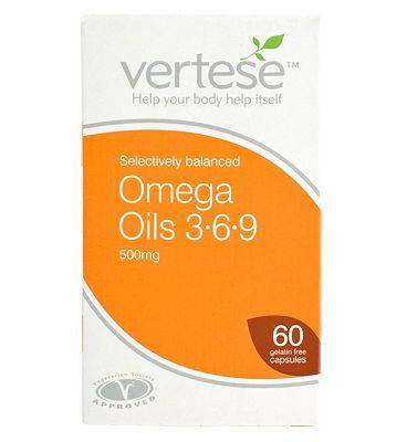 Vertese Omega Oils 3-6-9 500mg 60 Gelatin Free Capsules