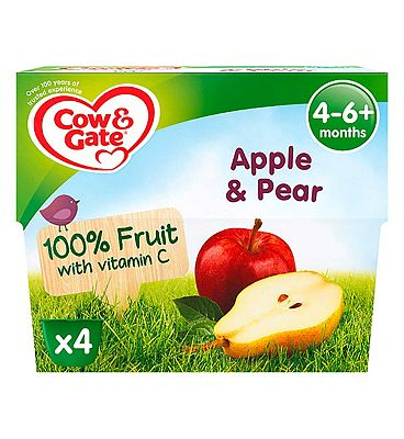 Cow & Gate Apple & Pear 100% Fruit with Vitamin C from 4-36 Months 4 x 100g