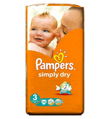 Pampers Simply Dry Nappies Size 3 Large Pack  56 Nappies