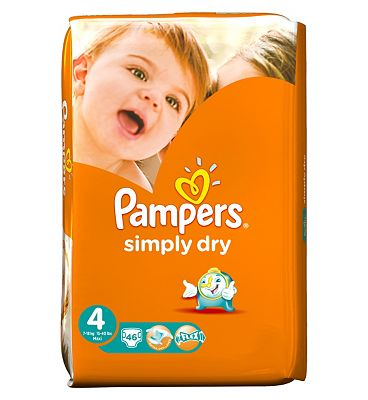 Pampers Simply Dry Nappies Size 4 Large Pack  46 Nappies