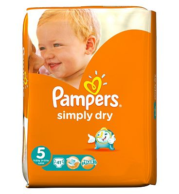 Pampers Simply Dry Nappies Size 5 Large Pack  41 Nappies