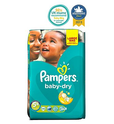 Pampers BabyDry Nappies Size 5 Large Bag  48 Nappies