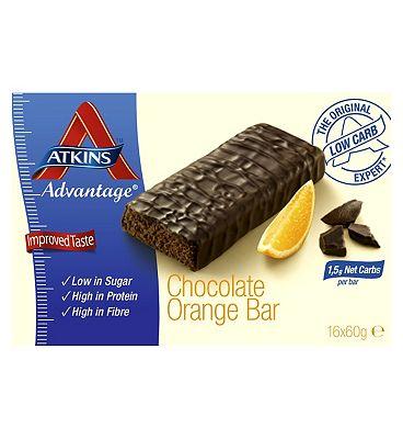 Atkins Advantage Orange & Chocolate Bars with sweeteners - 16 x 60 g