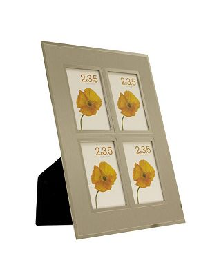 Brushed Aluminium Two Tone Multi Aperture Photo Frame 2x3.5