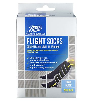 Boots Flight Socks Compression Level 14-17mmHg Size 6-9- 1 Pair
