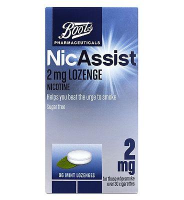 Boots Pharmaceuticals NicAssist 2mg Mint Lozenge Nicotine 96 Lozenges