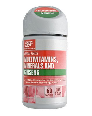 Boots Pharmaceuticals Multivitamins, Minerals and Ginseng (60 Capsules)