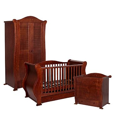 Tutti Bambini 3 Piece Marie Nursery Furniture Suite  Walnut Finish
