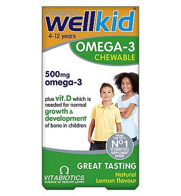 Vitabiotics WellKid Omega-3 soft burst Chewable Capsules - 60 Lemon Flavour Capsules