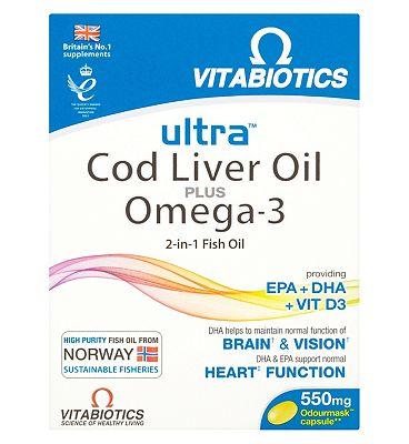 Vitabiotics Ultra 2 in 1 Omega-3  + CLO - 60 Capsules
