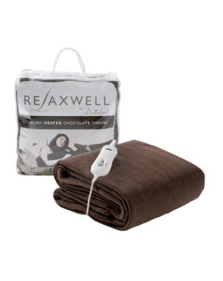 Relaxwell Luxury Heated Chocolate-Coloured Throw