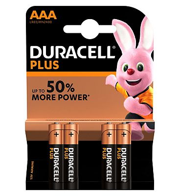 Duracell Plus Power AAA alkaline batteries 4 pack