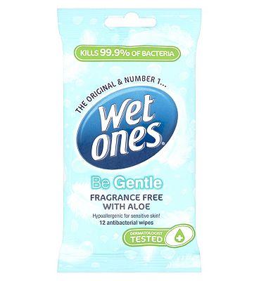 Wet Ones Be Gentle  sensitive antibacterial wipes 12s