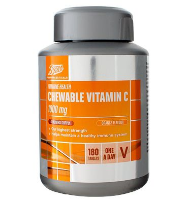Boots CHEWABLE VITAMIN C 1000 mg ORANGE FLAVOUR 6 MONTHS SUPPLY 180 Tablets